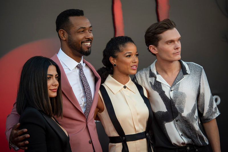 """WESTWOOD, CA - AUGUST 26: Emeraude Toubia, Isaiah Mustafa, Alisha Wainwright and guest attend the Premiere Of Warner Bros. Pictures' """"It Chapter Two"""" at Regency Village Theatre on Monday, August 26, 2019 in Westwood, California. (Photo by Tom Sorensen/Moovieboy Pictures)"""