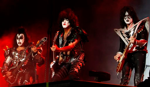 Description of . FILE - In this Sept. 29, 2012 file photo, members of the band Kiss, from left, Gene Simmons, Paul Stanley and Tommy Thayer perform during a concert in Mexico City. The hall of fame announced its annual list of nominees Wednesday morning, Oct. 16, 2013, and half the field of 16 were first-time nominees, such as Nirvana, Linda Ronstadt, Peter Gabriel, Hall and Oates, The Replacements, and others.  KISS, LL Cool J, N.W.A., Cat Stevens, Deep Purple and Chic, up for the eighth time since 2003, are among the repeat nominees. (AP Photo/Marco Ugarte, File)
