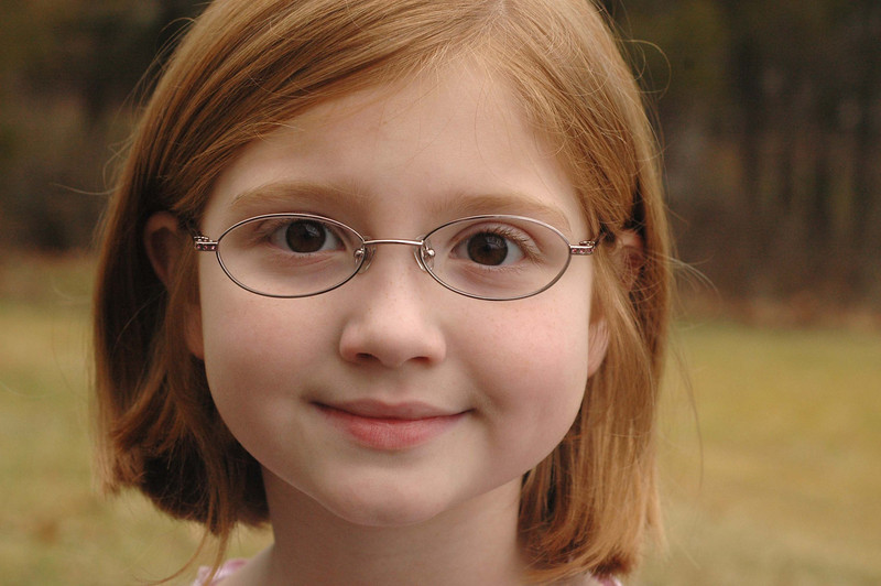2/5/08  Bespectacled---- Her first day with glasses.