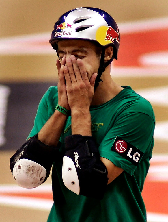 . Sandro Dias of Costa Mesa,Calif., fell on his 3rd try and is shocked, He would finsh 3rd in the Skateboard Vert Men\'s Final. The Eleventh X Games at the Staple Center in Los Angeles,Calif., August 5. 2005.  (Pasadena Star-News Staff Photo Keith Birmingham/SXSports)