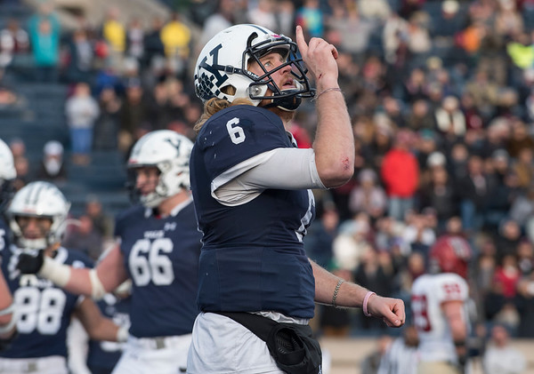 11/23/19 Wesley Bunnell | StaffrrYale rallied late in The Game against Harvard on Saturday afternoon at the Yale Bowl for a 50-43 victory in double over time. QB Kurt Rawlings (6) celebrates a touchdown.