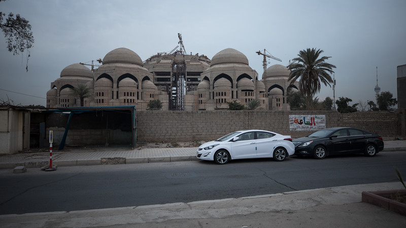 The unfinished Al-Rahman mosque in Baghdad's Mansour neighbourhood, another mosque that was halted after the 2003 invasion.