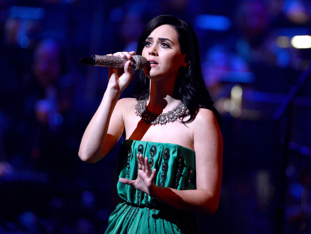 Description of . Singer Katy Perry performs during a celebration of Carole King and her music to benefit Paul Newman's The Painted Turtle Camp at the Dolby Theatre on December 4, 2012 in Hollywood, California.  (Photo by Michael Buckner/Getty Images for The Painted Turtle Camp)