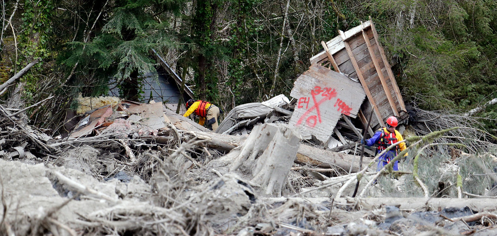 . Searchers work through debris caught among trees from a mudslide, Tuesday, March 25, 2014, in Oso, Wash.  (AP Photo/Elaine Thompson)