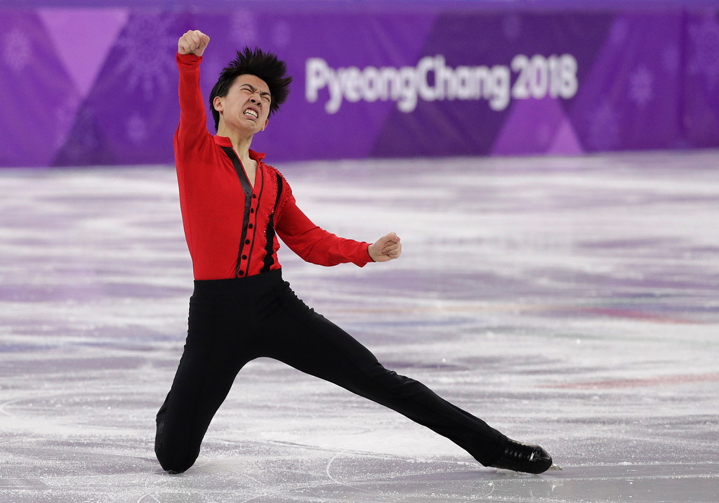 . Vincent Zhou of the United States reacts following his performance in the men\'s free figure skating final in the Gangneung Ice Arena at the 2018 Winter Olympics in Gangneung, South Korea, Saturday, Feb. 17, 2018. (AP Photo/David J. Phillip)