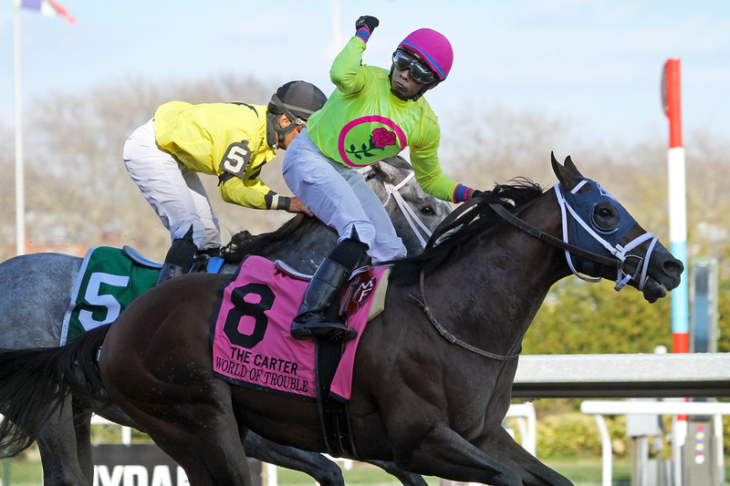 World of Trouble (Kantharos) and jockey Manny Franco win the Carter (Gr I) at Aqueduct Racetrack 4/6/19. Trainer: Jason Servis. Owner: Michael Dubb, Madaket Stables LLC, and Bethlehem Stables LLC