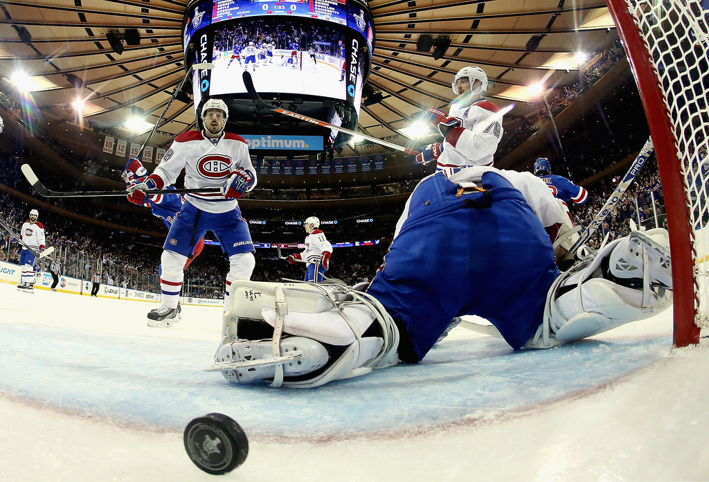 . Dustin Tokarski #35 of the Montreal Canadiens looks on after giving up a second period goal to  Dominic Moore #28 of the New York Rangers (not pictured) at 18:07 during Game Six of the Eastern Conference Final in the 2014 NHL Stanley Cup Playoffs at Madison Square Garden on May 29, 2014 in New York City.  (Photo by Bruce Bennett/Getty Images)