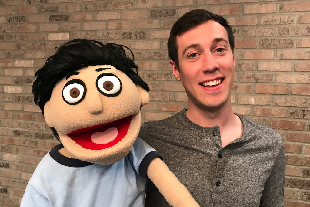 """. \""""Princeton\"""" -- who gets a hand from actor Tim Schuerger -- is the central character in \""""Avenue Q,\"""" which is on stage from July 21 through Aug. 19 at Chagrin Valley Little THeatre, 40 River St., Chagrin Falls. For more information, visit www.cvlt.org. (Courtesy Chagrin Valley Little Theatre)"""
