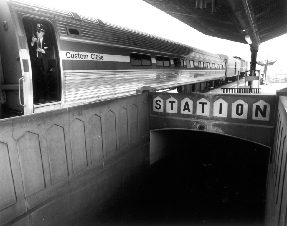 . At Union Station in downtown Los Angeles, Amtrak\'s train to Santa Barbara departs from alongside old, now-unused tunnels on April 30, 1991.    (Los Angeles Daily News file photo)