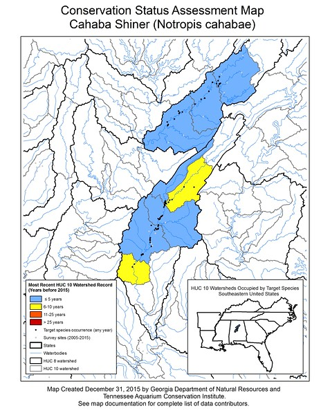 Conservation Status Assessment Map for Cahaba Shiner (Notropis cahabae)