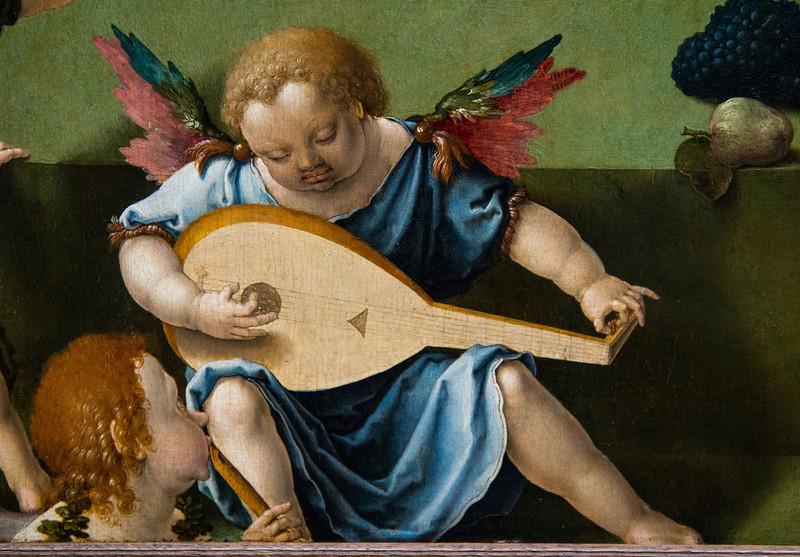 """Ein leises Freudenlied erklingt; man kann es kaum glauben (""""Maria mit dem Kind und Engeln"""", Lucas van Leyden, um 1520, noch in der Gemäldegalerie)"""