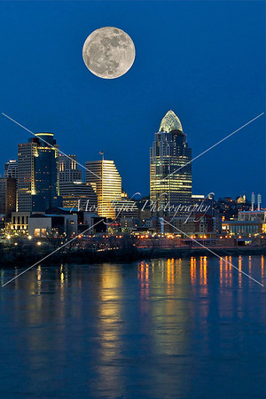 Skyline with Super Moon