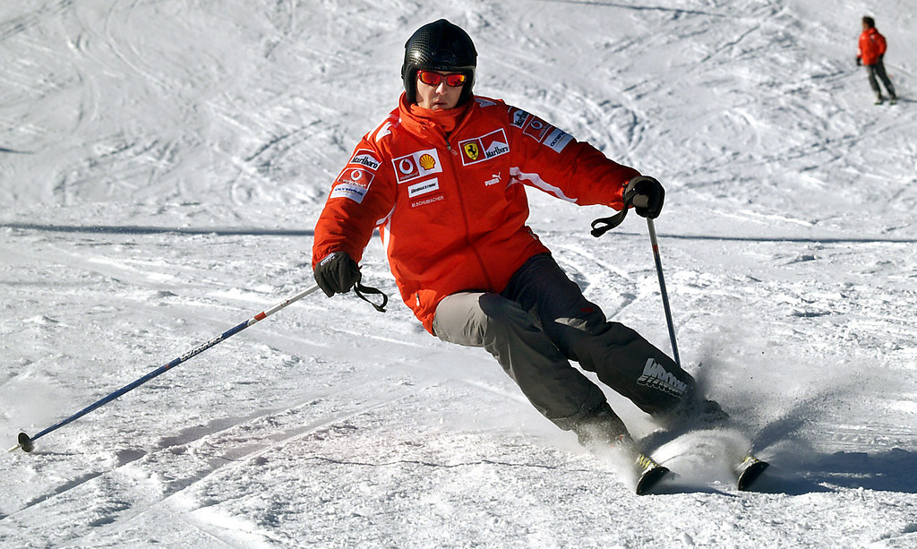 . (dpa) - German formula one driver Michael Schumacher skiis in the ski resort Madonna di Campiglio, Italy, 13 January 2005. Traditionally the Ferrari team goes skiing with its drivers under the motto \'Wrooom\' one week at the beginning of the new year. Photo by: Oliver Multhaup/picture-alliance/dpa/AP Images
