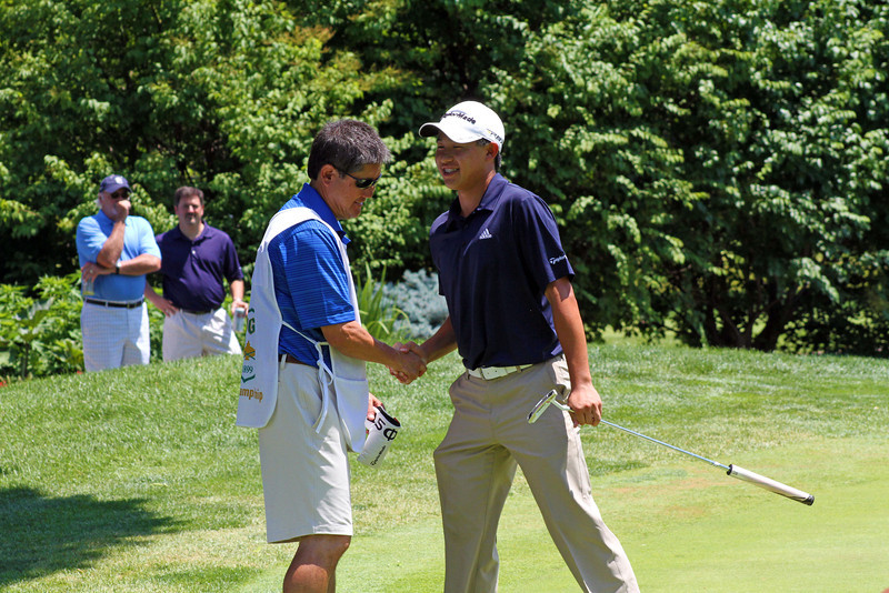 Collin Morikawa had his father caddie for him throughout the entirety of the 96th Western Junior at Meridian Hills Country Club.