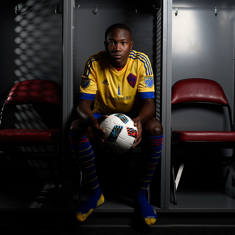 . COMMERCE CITY, CO - FEBRUARY 11: Bradley Kamdem poses for a portrait during Colorado Rapids media day on Thursday, February 11, 2016. (Photo by AAron Ontiveroz/The Denver Post)