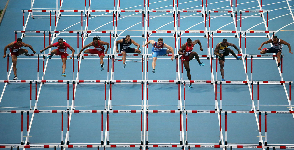 . US\'s David Oliver (3rd-R) wins the men\'s 110 meters hurdles final at the 2013 IAAF World Championships at the Luzhniki stadium in Moscow on August 12, 2013. AFP PHOTO / LOIC VENANCELOIC VENANCE/AFP/Getty Images