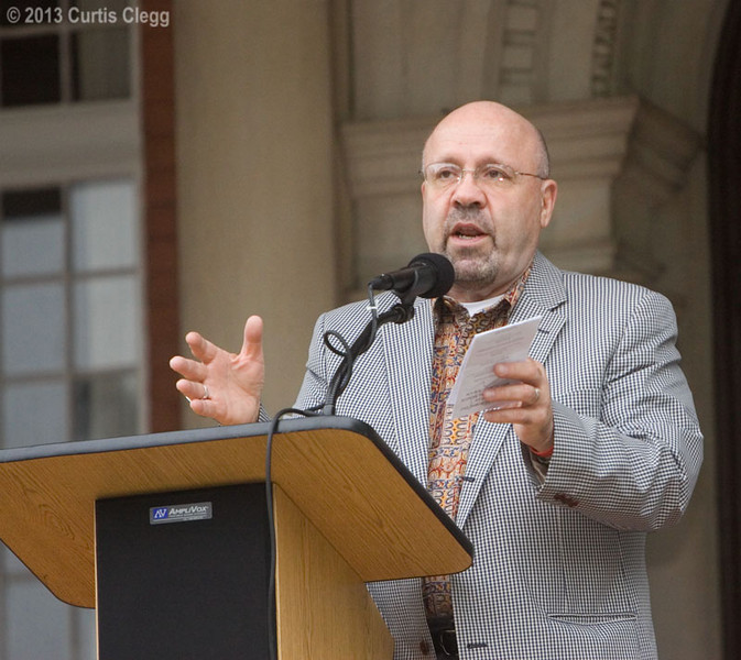 DeKalb mayor John Rey at the Ellwood House in DeKalb, Ill. during a Memorial Day observance on Monday, May 27, 2013.