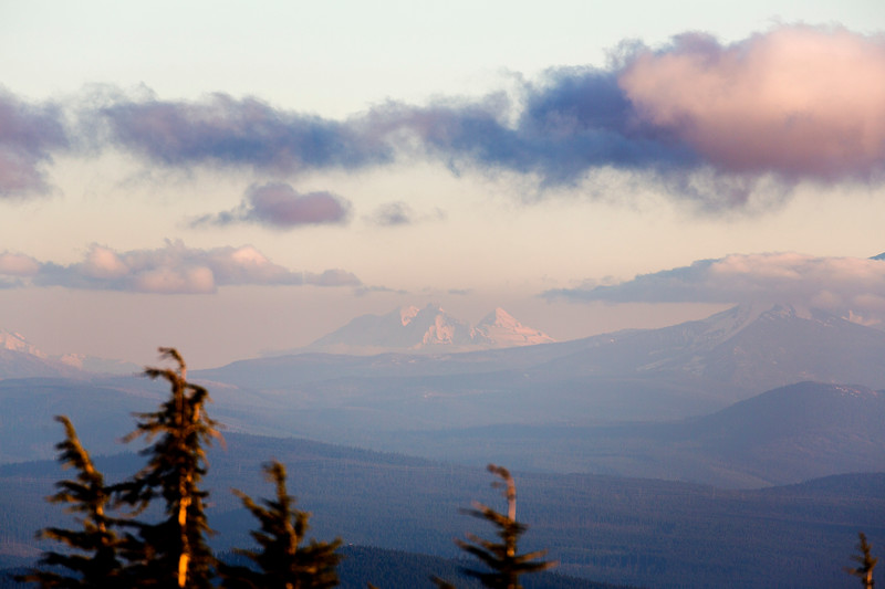 "83 miles away: The ""Three Sisters"" barely emerge from the evening haze."
