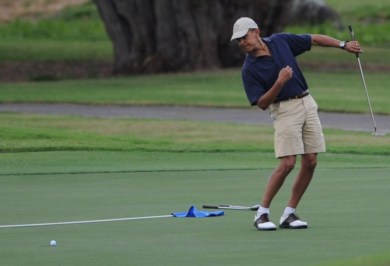 ". <p>8. BARACK OBAMA <p>Hasn�t quite golfed as often as Tiger, but he HAS taken many more shots. (3) <p><b><a href=\'http://www.washingtontimes.com/news/2013/nov/8/miller-obama-plays-150-rounds-golf-president/\' target=""_blank\""> HUH?</a></b> <p>    (Cory Lum-Pool/Getty Images)"