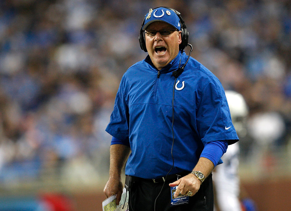 Description of . Indianapolis Colts assistant coach Bruce Arians yells from the sideline during the second half of their NFL football game against the Detroit Lions in Detroit, Michigan December 2, 2012.  REUTERS/Rebecca Cook