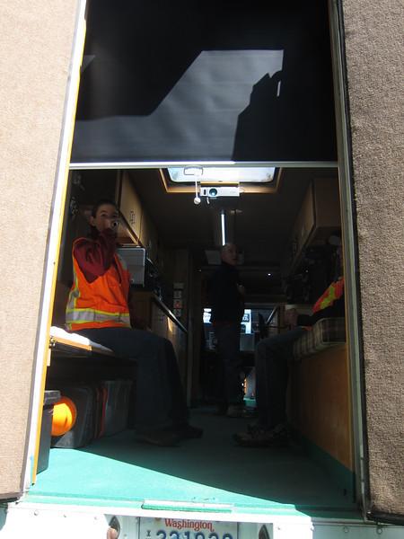 Inside the van.