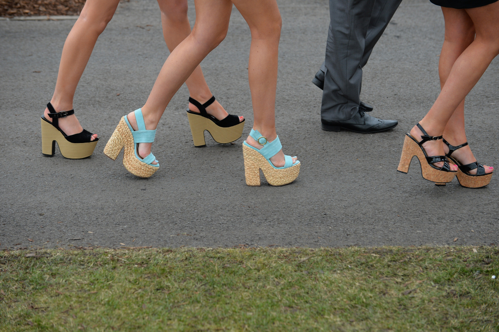. A picture shows the shoes of racegoers on Ladies Day the second day of the Grand National Meeting horse racing event at Aintree Racecourse in Liverpool, north-west England on April 5, 2013. The annual three day meeting culminates in the Grand National which is run over a distance of four miles and four furlongs (7,242 metres), and is the biggest betting race in the United Kingdom.  ANDREW YATES/AFP/Getty Images