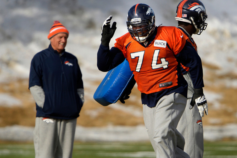 . Tackle Orlando Franklin #74 of the Denver Broncos during practice at Dove Valley in Centennial January 10, 2014 Centennial, Colorado. (Photo by Joe Amon/The Denver Post)
