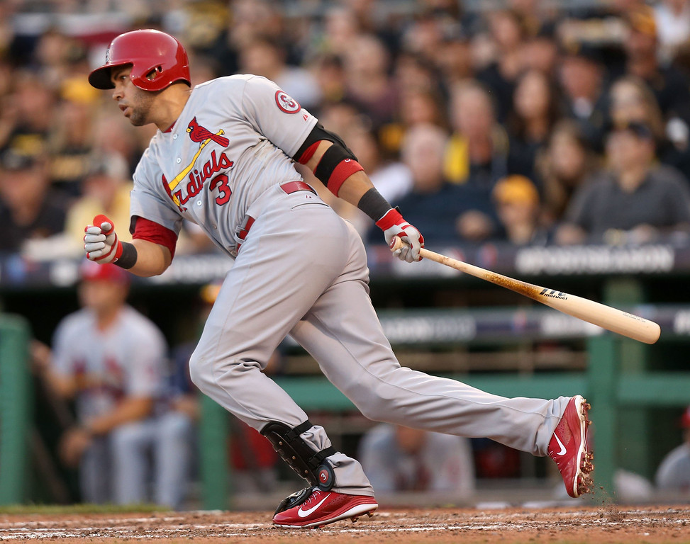 . Carlos Beltran of the St. Louis Cardinals hits a two-run single during the fifth inning in Game 3 of the National League Division Series against the Pittsburgh Pirates at PNC Park in Pittsburgh, Pennsylvania, on Sunday, October 6, 2013. (Huy Mach/St. Louis Post-Dispatch/MCT)