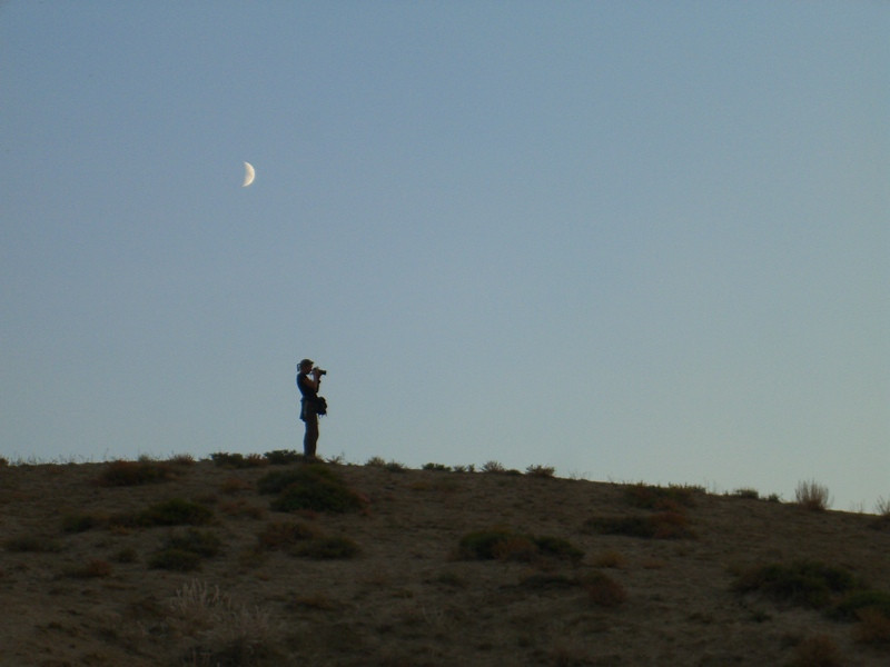 Woman With Camera Under Moon - Manzhyly, Kyrgyzstan
