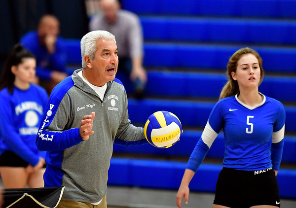9/18/2019 Mike Orazzi | StaffrPlainville Girls Volleyball Coach Bob Moffo during Wednesday night's match with Bristol Eastern.