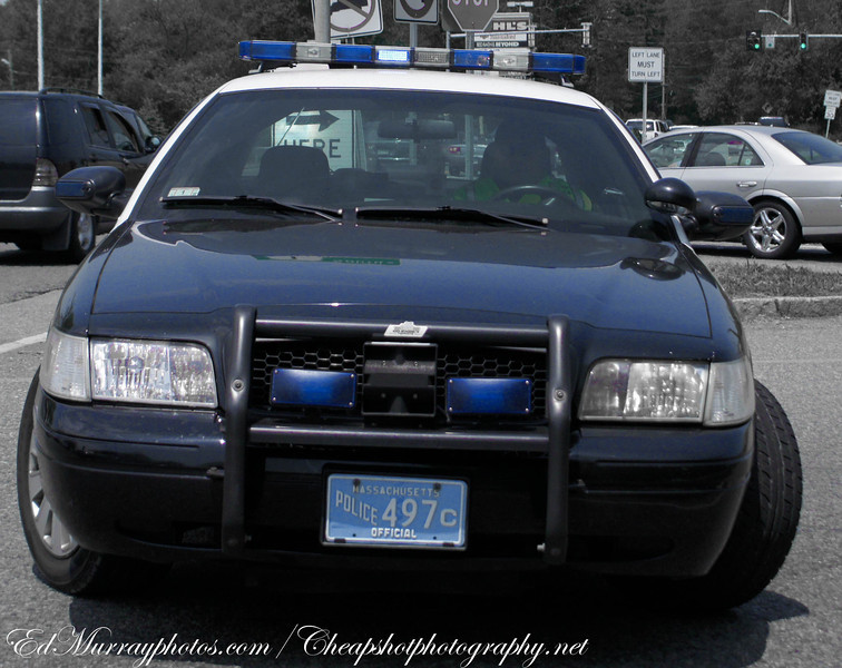 There's something about the Saugus Police.....they are the most cooporative force I've known. This officer was doing a traffic detail and I approached him and asked him if I could take a picture of him and his car and he was more than happy to do it! Thank you! (I tried to do a little PP buy dumping all the color but blue..eeehhh).