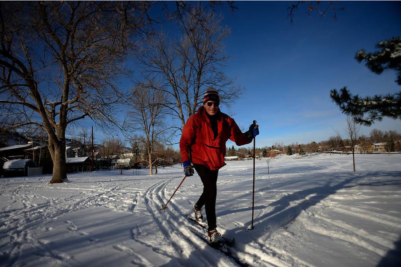 . 78 year old Peter Birkeland of Boulder skiing in North Boulder Park Colorado, Wednesday, December 19,  2012.    Joe Amon, The Denver Post