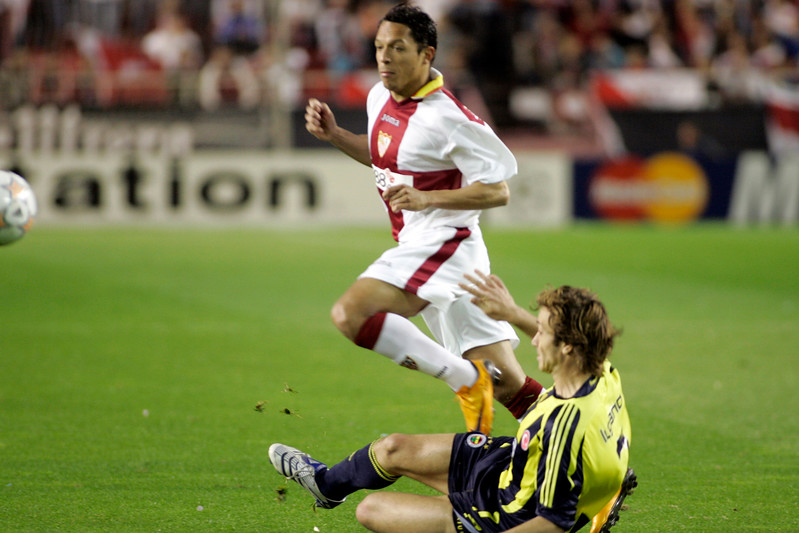 Adriano (Sevilla) and Lugano (Fenerbahçe). UEFA Champions League first knockout round game (second leg) between Sevilla FC (Seville, Spain) and Fenerbahce (Istambul, Turkey), Sanchez Pizjuan stadium, Seville, Spain, 04 March 2008.