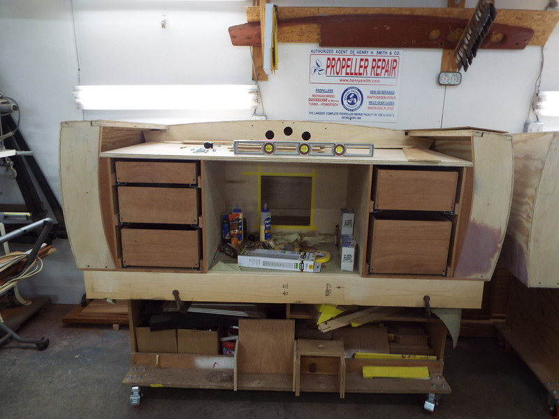 Front view of the desk with the drawers installed.