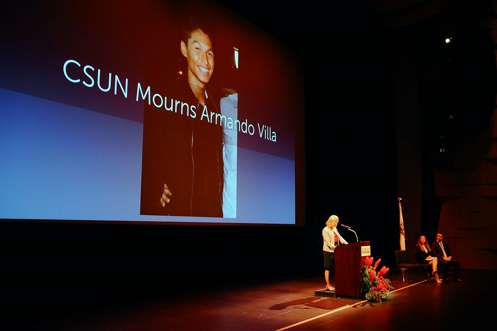 . CSUN President Dianne F. Harrison asks for moment of silnence Armondo Villa during her third annual convocation address Thursday, August 21, 2014.  Villa died July 1, 2014 while on a fraternity-sponsored hike in the Angeles National Forest. (Andy Holzman/Daily News Staff Photographer)