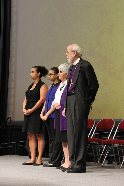 Presiding Bishop Mark S. Hanson and his wife, Mrs. Ione Hanson, are joined by their daughter and granddaughter.