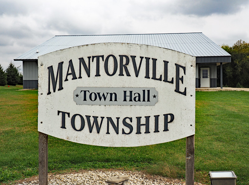 Mantorville Town Hall sign