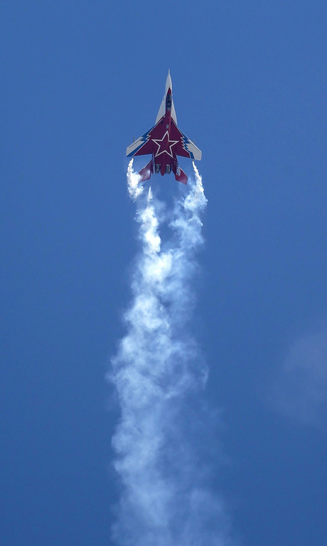 . Russian Russian MiG-29OVT fighter jet performs at the opening of the MAKS Air Show in Zhukovsky outside Moscow on Tuesday, Aug. 27, 2013. (AP Photo/Ivan Sekretarev)