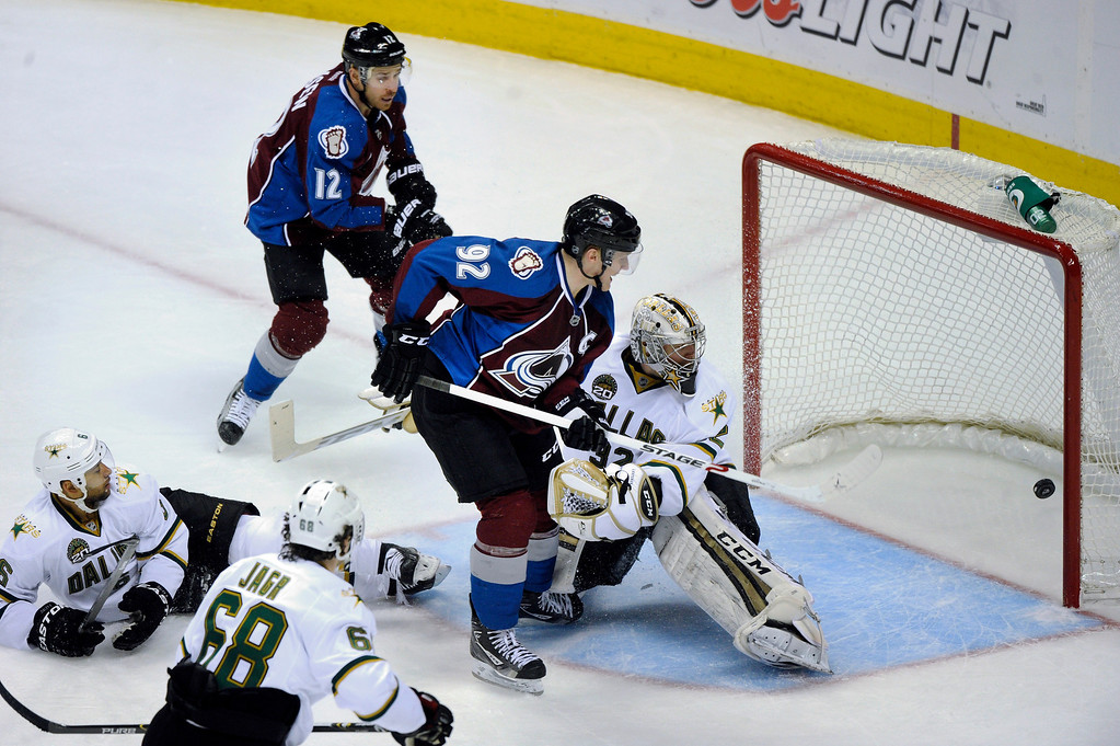 . DENVER, CO. - MARCH 12: Gabriel Landeskog (92) of the Colorado Avalanche tied the game in the second period with a shot that got past goalie Kari Lehtonen (32) of the Dallas Stars. The Colorado Avalanche hosted the Dallas Stars Wednesday night, March 19, 2013 at the Pepsi Center in Denver. (Photo By Karl Gehring/The Denver Post)