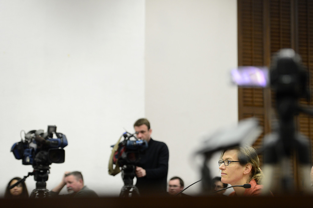 . DENVER, CO - MARCH 4: CU associate professor in the English Department Julie Carr testifies against assault weapons at the State Capitol. Four gun bills were up for debate. (Photo by AAron Ontiveroz/The Denver Post)