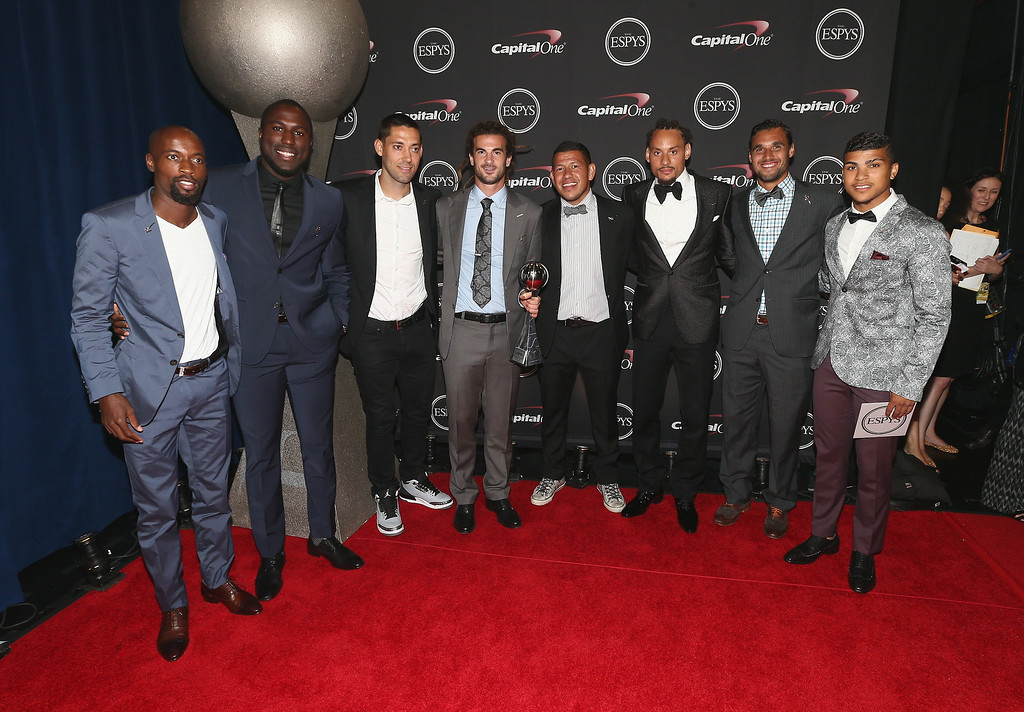 . LOS ANGELES, CA - JULY 16: (L-R) USA mens soccer team DaMarcus Beasley, Jozy Altidore, Clint Dempsey, Kyle Beckerman, Nick Rimando, Jermaine Jones, Chris Wondolowski and DeAndre Yedlin  attends The 2014 ESPYS at Nokia Theatre L.A. Live on July 16, 2014 in Los Angeles, California.  (Photo by Christopher Polk/Getty Images For ESPYS)