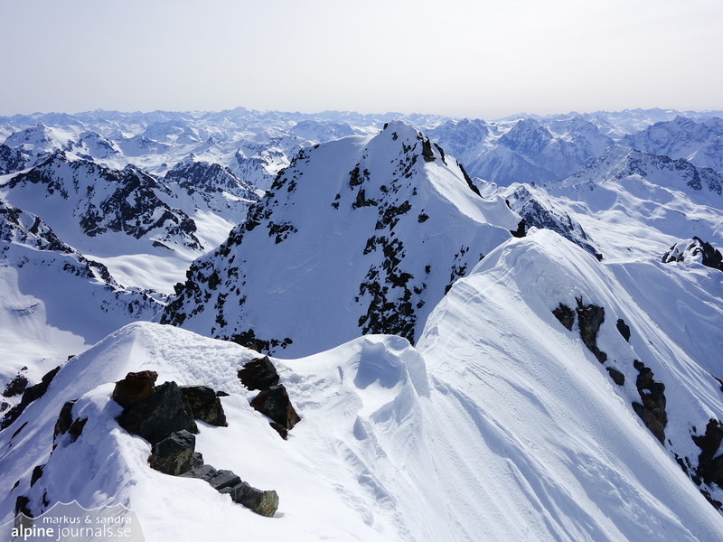 South ridge from the summit of Piz Buin