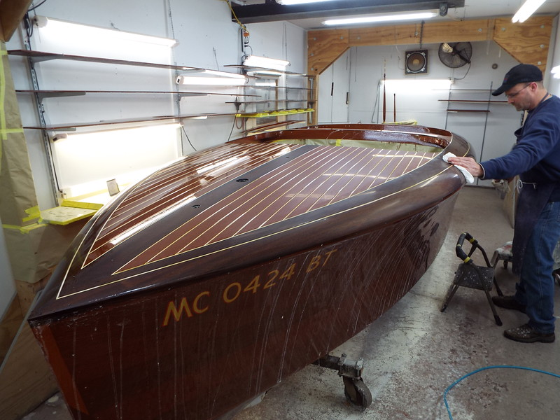 Starting to wet sand the hull so the finish can be buffed out. There will be a week of sanding.