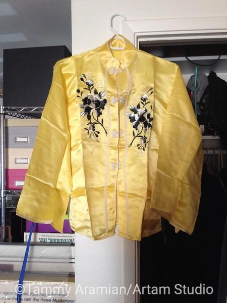 yellow silk pajama set