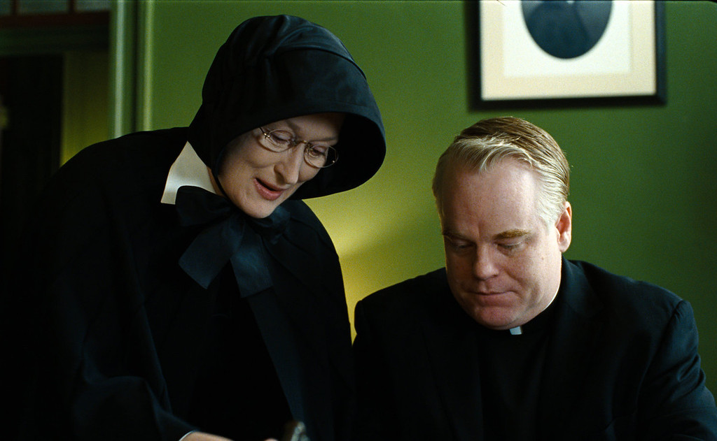 """. In this undated file image released by Miramax Film Corp., Philip Seymour Hoffman portrays Father Flynn, right, and Meryl Streep portrays Sister Aloysius  in a scene from \""""Doubt.\"""" Police say Hoffman was found dead in his New York City apartment Sunday, Feb. 2, 2014. He was 46. (AP Photo/Miramax Film Corp, Andrew Schwartz, File)"""