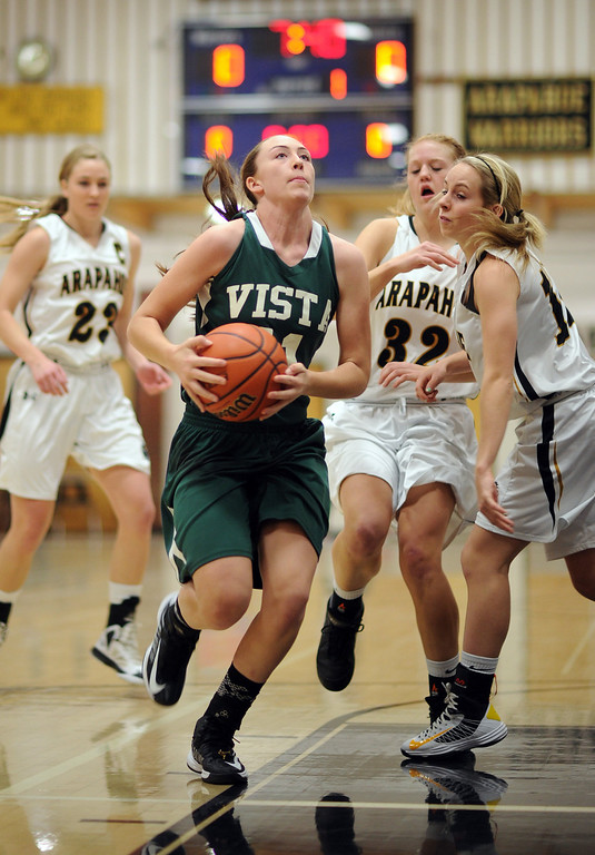 . Mountain Vista\'s Paige Keller (11) drives the ball against Arapahoe defense in the first half of the game at Arapahoe High School Gym onSaturday, Jan. 5, 2013, in Centennial, Colo. Arapahoe won 74-38. Hyoung Chang, The Denver Post