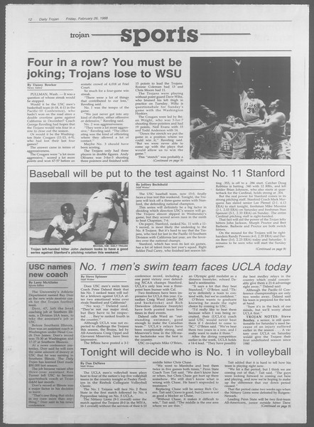Daily Trojan, Vol. 106, No. 32, February 26, 1988