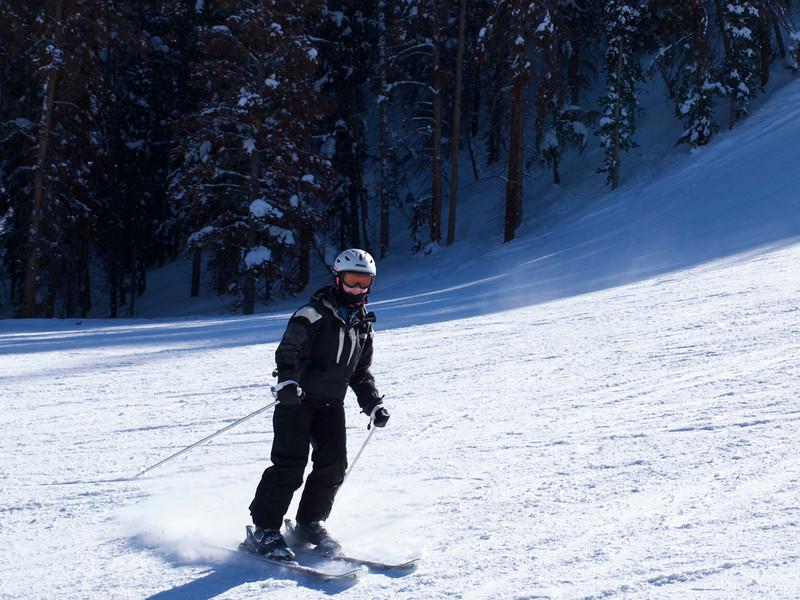 Andi skiing happily