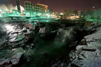 Greenville snow at night - 2010