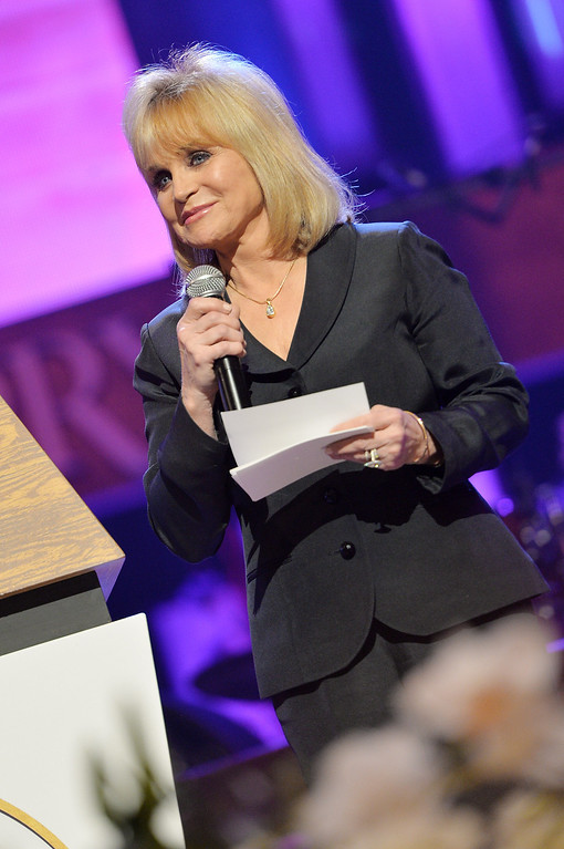 . Country singer Barbara Mandrell speaks at the funeral service for George Jones at The Grand Ole Opry on May 2, 2013 in Nashville, Tennessee.  (Photo by Rick Diamond/Getty Images for GJ Memorial)